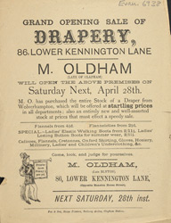 Advert For M. Oldham, Drapers Shop